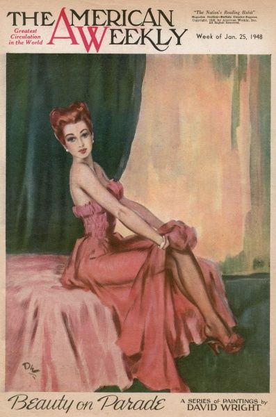 Elegant woman with red hair, wearing a low-cut pink evening dress