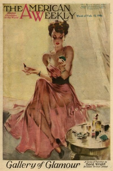 Elegant woman in a pink evening dress, doing her makeup. David Wright (1912 - 1967), was a popular British artist specialising in glamour. His series of pin-ups for The Sketch during the World War II period were immensely popular and morale-boosting to troops