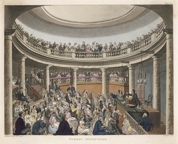 Humphry Davy lectures at the Surrey Institution, London