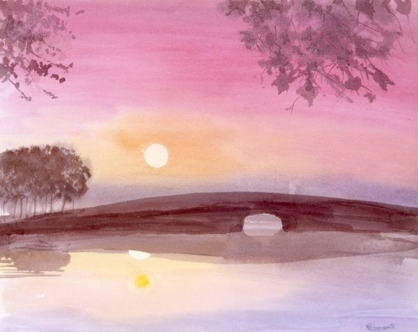 A Dawn River - view toward a low bridge straddling a wide pond or stream, as the new day's sun, reflected in the still water, rises up into the morning sky. Painting by Malcolm Greensmith