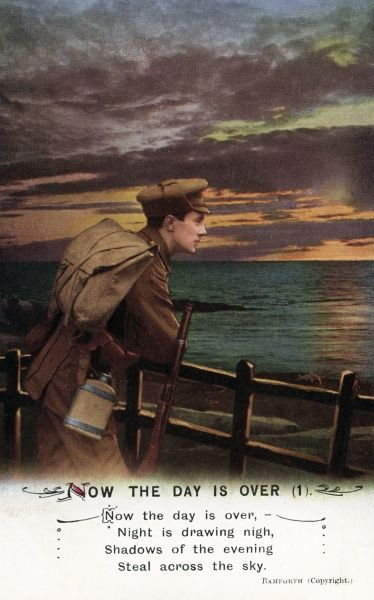 NOW THE DAY IS OVER A soldier gazes pensively into the sunset, while shadows of the evening steal across the sky. Date: circa 1915