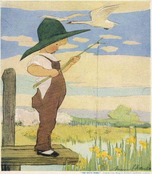 A little boy in dungarees or overalls and with a wide brimmed hat stands on the end of a jetty fishing with a makeshift rod and line. Swans fly overhead