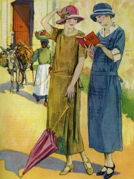 Daytime frocks. Illustrator Anon. From a contemporary colour advertisement. Date: 1924