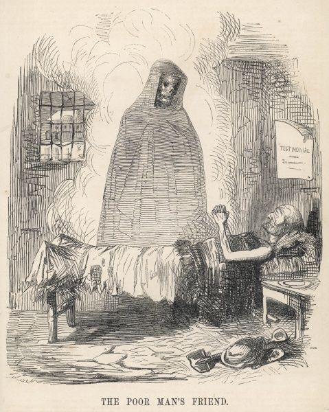 DEATH portrayed as THE POOR MAN'S FRIEND