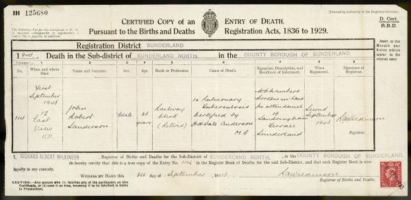 Death certificate issued in 1943 for John Robert Sanderson.Cause of death was tuberculosis