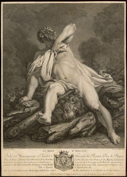 The death of Herakles after absorbing the toxic blood of Nessus which was on his tunic, put there by his wife, Deianira, who thought it would help her regain his favour