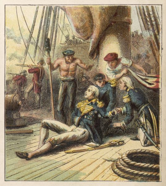 Admiral Nelson lies mortally wounded at the Battle of Trafalgar