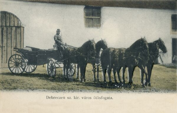 A fine carriage pulled by a team of four black horses - Debreczen, Hungary