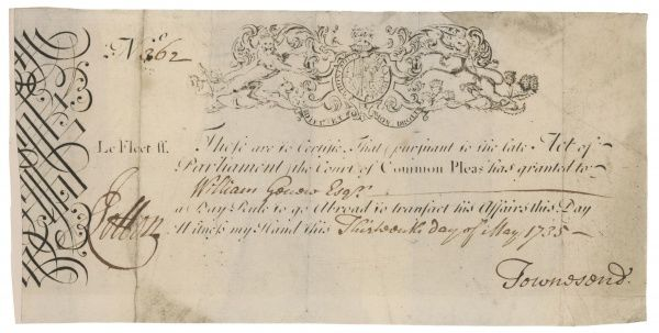 A certificate permitting a debtor in prison to go out and settle his affairs, signed by Townsend, the celebrated Bow Street Runner