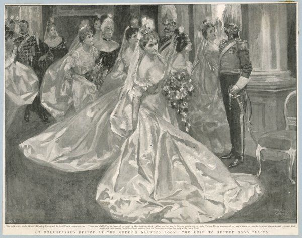 Debutantes waiting to be received by royalty at Buckingham Palace, London