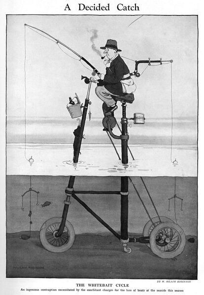 The Whitebait cycle, an ingenious contraption necessitated by the exorbitant charges for hire of boats at the seaside this season. Another brilliant invention from the gadget king, William Heath Robinson, known for his convoluted and crazy contraptions