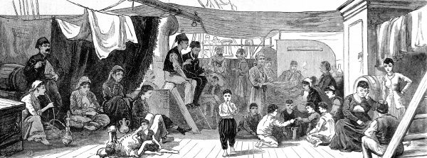 Engraving of the passengers on board the ship 'North Britain' fleeing from Egypt, 1882. This engraving shows children playing cards and a lady in eastern dress smoking a hookah. The passengers are poorly dressed and look dejected