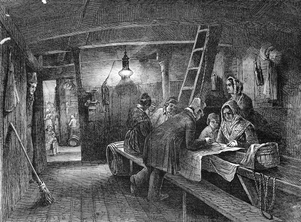 Engraving showing a family of emigrants, below decks, poring over a large map, working out the position of the ship on its long voyage to Australia. The original title for this image was 'Night - Tracing the Vessels Progress&#39