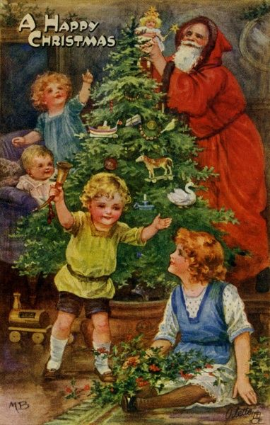 Decorating the Christmas tree with Santa Claus.  early 20th century