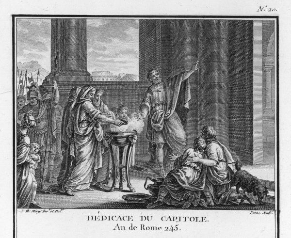 The Roman Capitol is dedicated to the deities Jupiter, Minerva and Juno