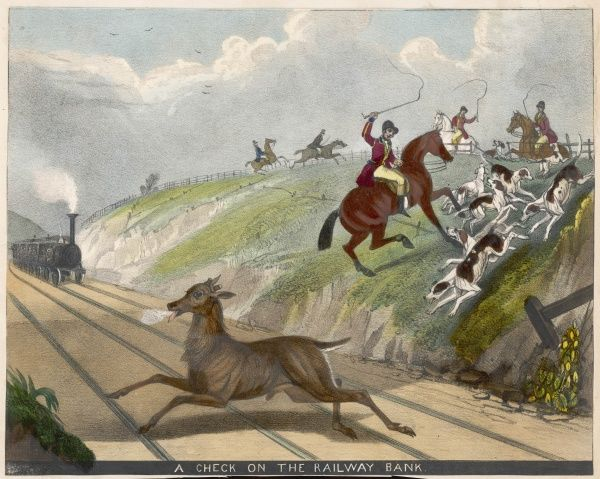 'A Check on the Railway Bank' - huntsmen check their hounds as they try to pursue a deer across a railway line with a train approaching