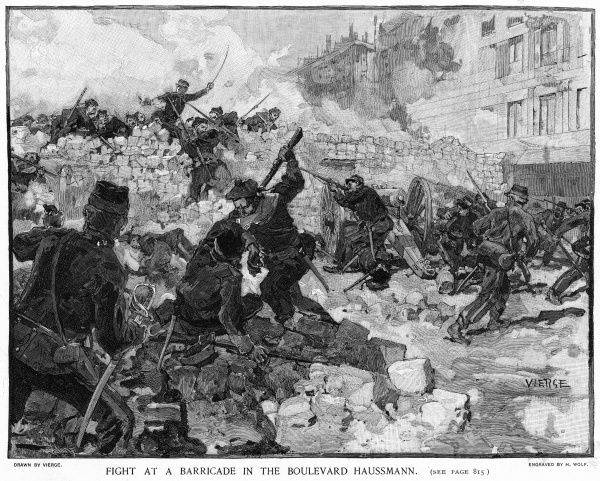 Defending the barricade in the boulevard Haussmann