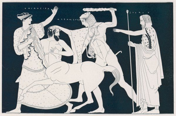 Deianeira, wife of Herakles, is carried off by the centaur Nessus