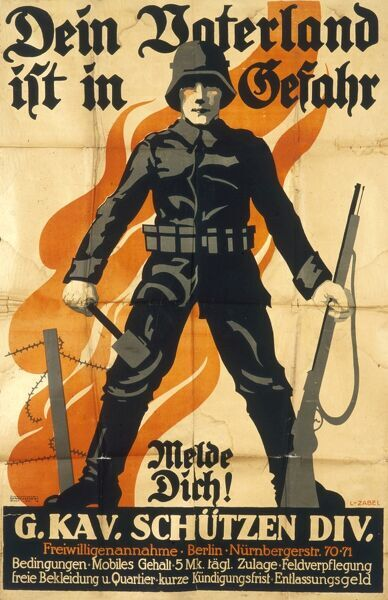 Dein Vaterland ist in Gefahr Poster - Your Fatherland is in danger, German military recruitment poster