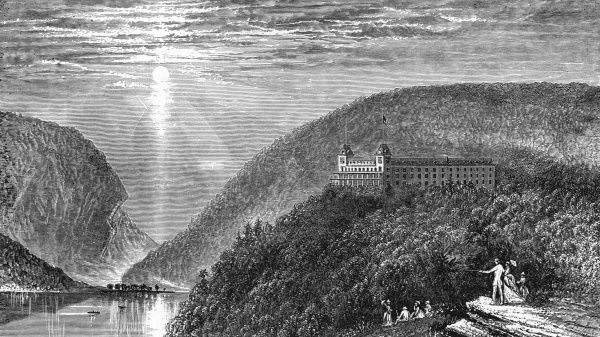 A popular tourist resort on the Delaware river, separating New Jersey from Pennsylvania. Date: 1874