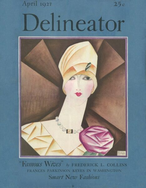 Front cover of the Delineator magazine featuring a striking art deco design of a woman in a cloche hat