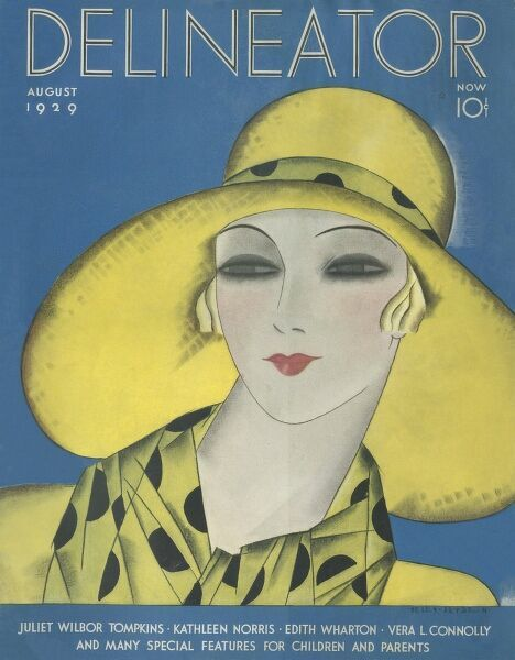 Front cover illustration featuring a fashionable art deco woman wearing a large brimmed yellow hat trimmed with a polka dot ribbon and matching scarf
