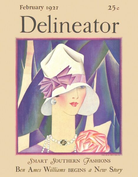 Front cover illustration featuring a fashionable and stylish 1920s woman wearing a cloche hat trimmed with a purple ribbon