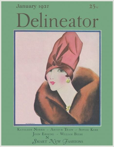 Front cover illustration featuring a slim and elegant 1920s woman with a swan-like neck wearing a fur-collared coat and an elaborate and vertiginous cloche hat