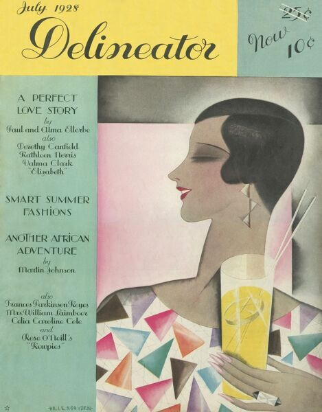 Summery front cover illustration for the Delineator magazine featuring a woman with a sleek looking cropped hair style holding a long glass of lemonade, or perhaps a cocktail?