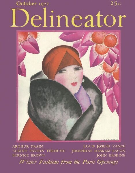 Front cover illustration featuring an elegant 1920s woman wearing a red coat with a luxurious fur collar and wearing a matching turban style hat. The rather psychadelic purple and orange horse chestnut trees complement her outfit beautifully