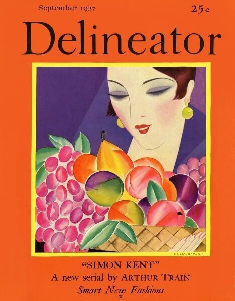 Delineator cover September 1927 by Helen Dryden. Front cover of the Delineator magazine featuring a smart and stylish 1920s lady admiring fruit. Date: 1927