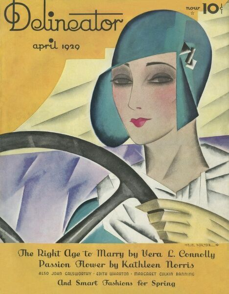 Front cover illustration featuring a stylish 1920s woman in a cloche hat at the wheel of a car