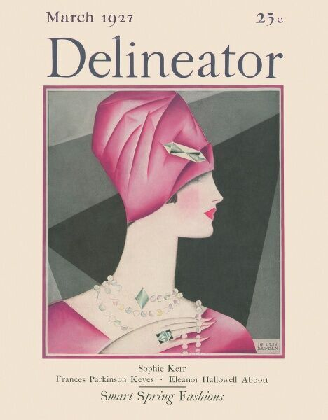 Front cover featuring an illustration of a fashionable young 1920s woman wearing a matching pink dress and cloche hat, set off with emerald jewellery