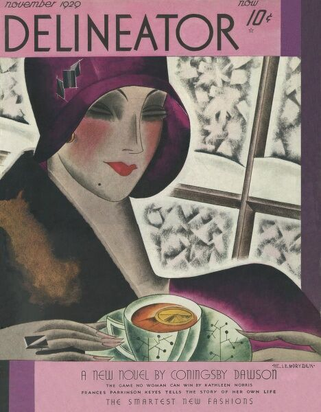 Front cover illustration showing an elegantly attired 1920s woman wearing a cloche hat, a fur stole and enjoying a nice cup of tea with a slice of lemon