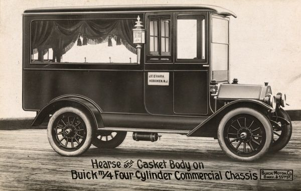 Hearse and Casket Body on Buick m/4 Four Cylinder Commercial Chassis. Photographic post card of a drawing or print of a Buick hearse