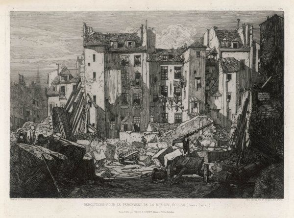 Demolition work prior to the building of the Rue des Ecoles with half demolished tenements propped up with wooden buttresses. Residents continue to dry their washing