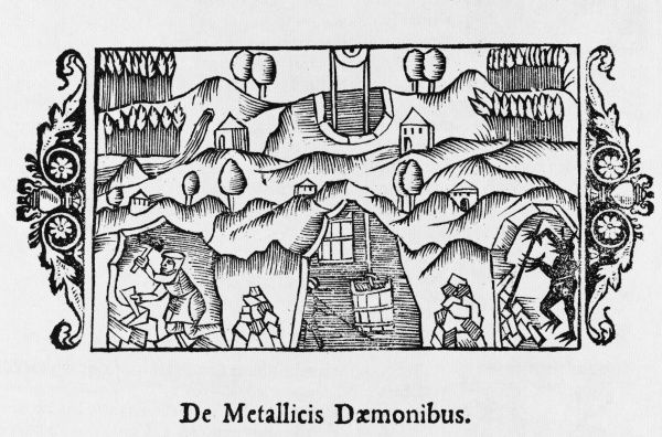 'The demons of the mines': medieval mining scene, with an image of a demon hidden in the corner