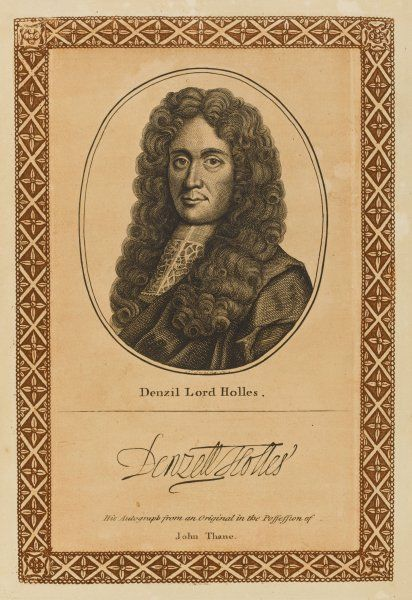 DENZIL, baron HOLLES of Isfield 'bed-fellow of Charles I', statesman who opposed Cromwell with his autograph