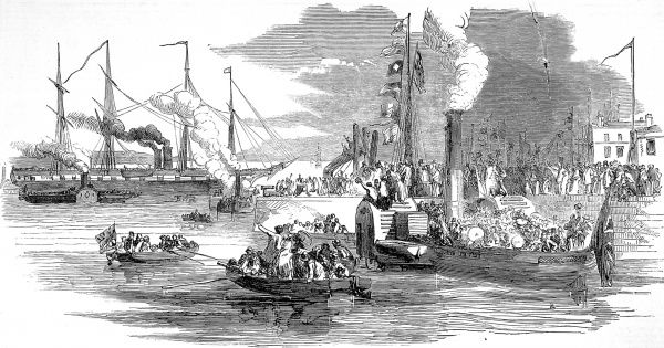 Engraving showing the busy scene at Prince's Pier, Liverpool, as hundreds of onlookers cheer the steam ship 'Great Britain' upon its departure for Australia, 1852