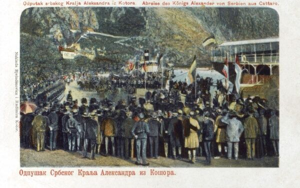 Departure of King Alexander I of Serbia at Kotor, Montenegro. He was to be assassinated in 1903. Date: circa 1900