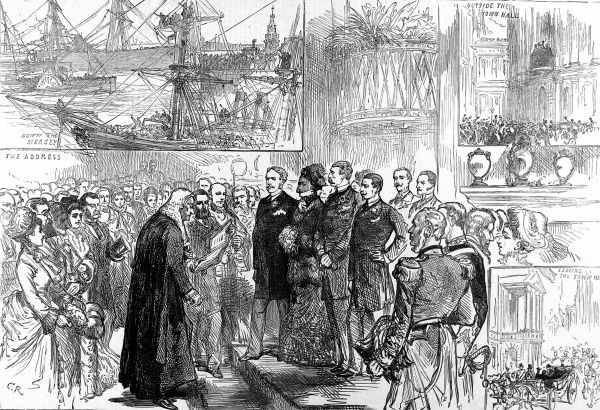 Engraving depicting Princess Louise with her husband, the Marquis of Lorne (Duke of Argyle) seen departing from Liverpool for Canada where the Marquis was to serve as Governor General