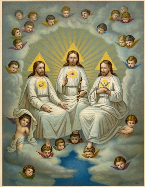 A depiction of the Holy Trinity (Father, Son and Holy Spirit), with cherubs and putti