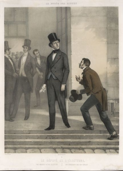 A French deputy looks coldly at an elector who has the effrontery to seek a favour in return for his vote