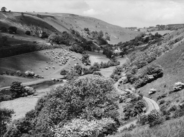 The beautiful valley of Monsal Dale, Derbyshire, England. Date: 1960s