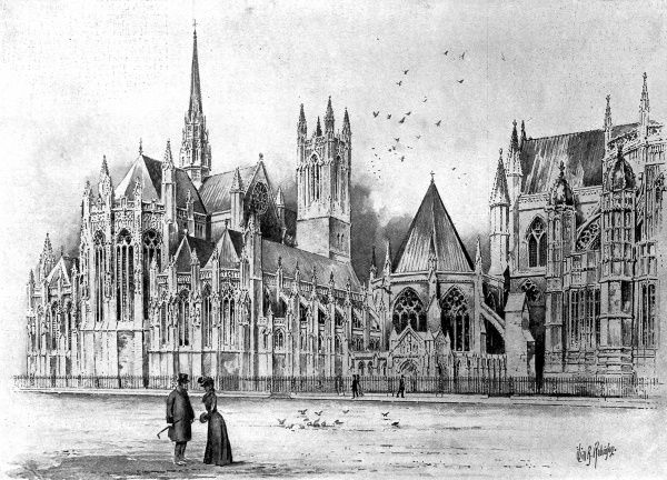 Illustration of a suggested chapel in memory of Queen Victoria, which was to be south of the Chapter House at Westminster Abbey, London. The design was submitted by Mr. Pearson