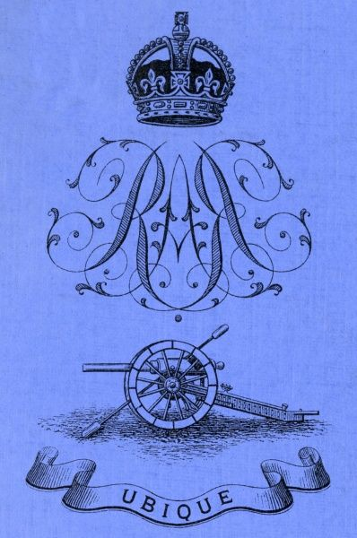 Design and motto of the Royal Artillery, showing a crown, ornate initials RA in mirror image, a field gun, and the Latin word 'Ubique', meaning 'Everywhere'. The original Latin motto of the Royal Artillery was Quo Fas et Gloria Ducunt