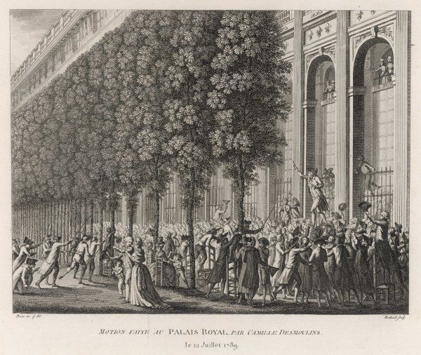 In the gardens of the Palais Royal, Camille Desmoulins climbs a table at the Cafe Foi, and - brandishing a pair of pistols - calls the Sunday afternoon crowd to action