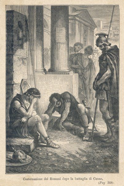 Despondency in Rome after learning of their army's defeat at the battle of Cannae