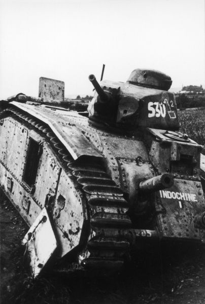 Destroyed French tank in France during World War II