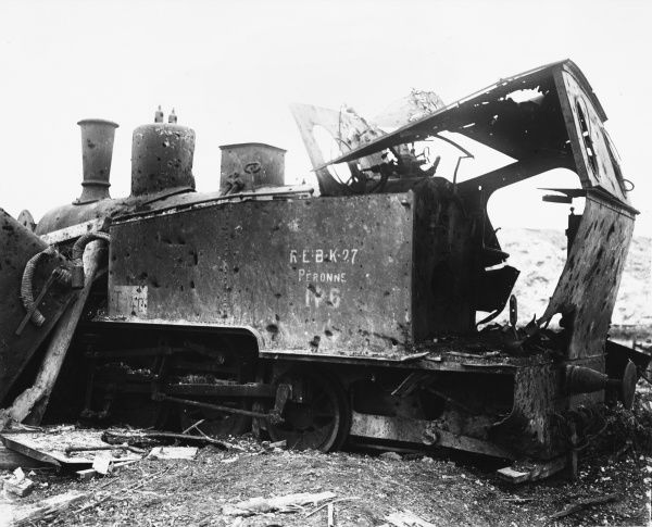 Destroyed railway engine the Peronne in France during World War I